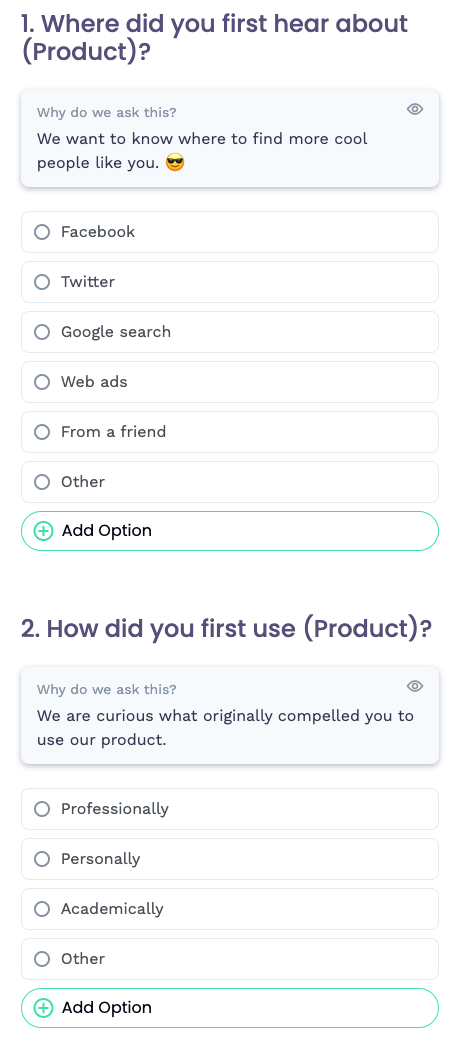 free product market fit survey